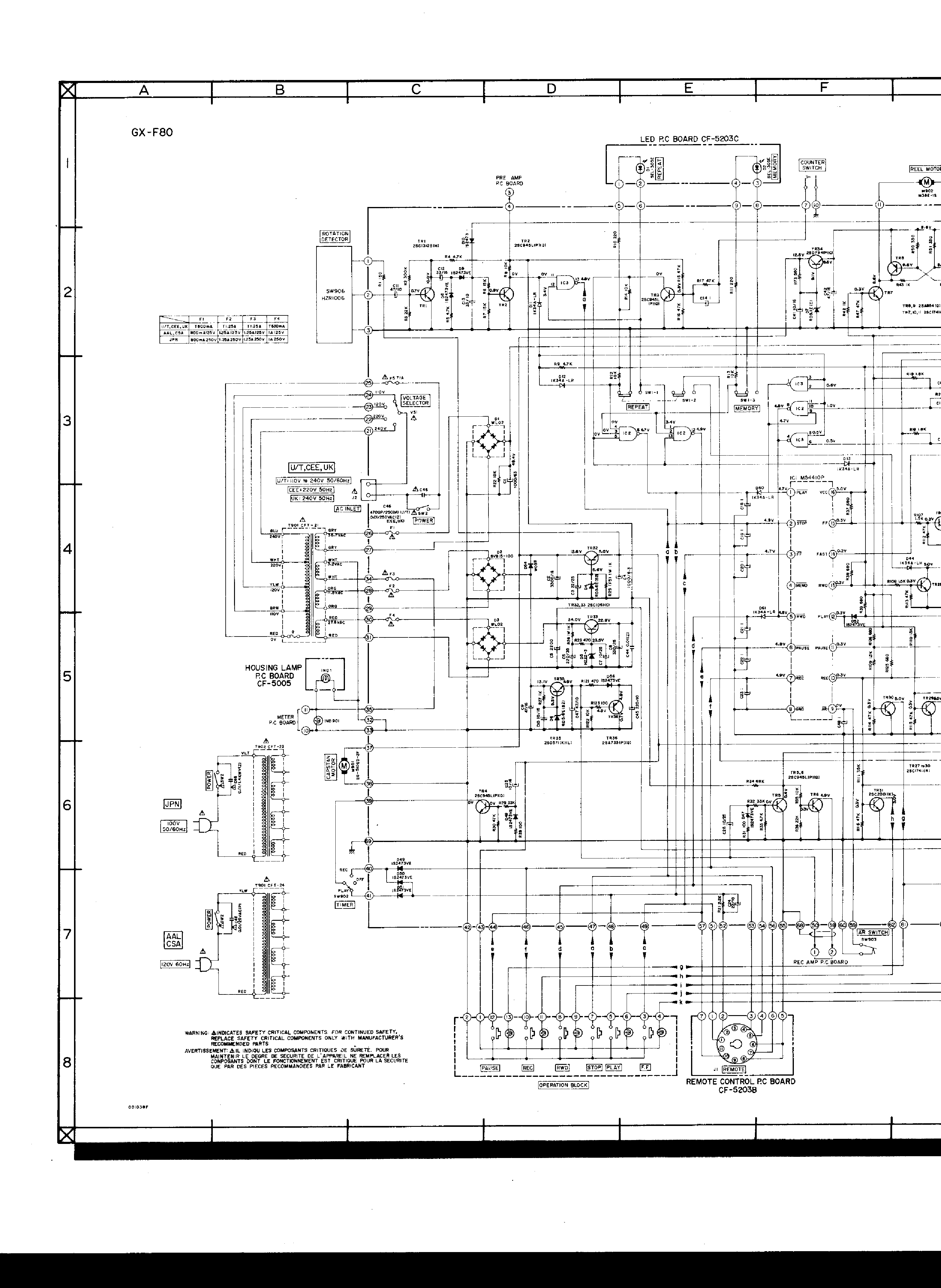 AKAI GX-F80 SCH Service Manual download, schematics