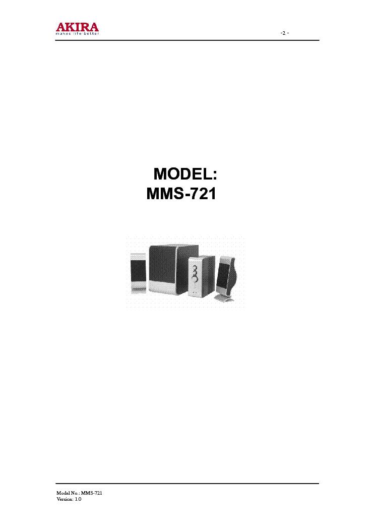AKIRA MMS-721 Service Manual download, schematics, eeprom