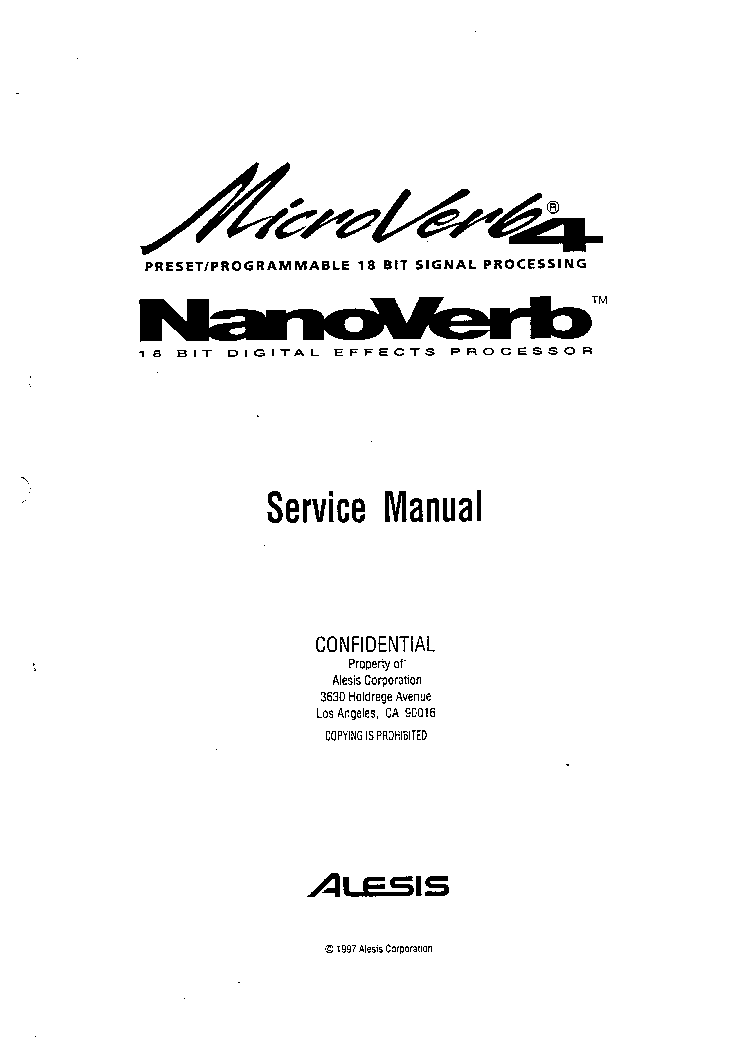 ALESIS MICROVERB 4 C4 Service Manual download, schematics