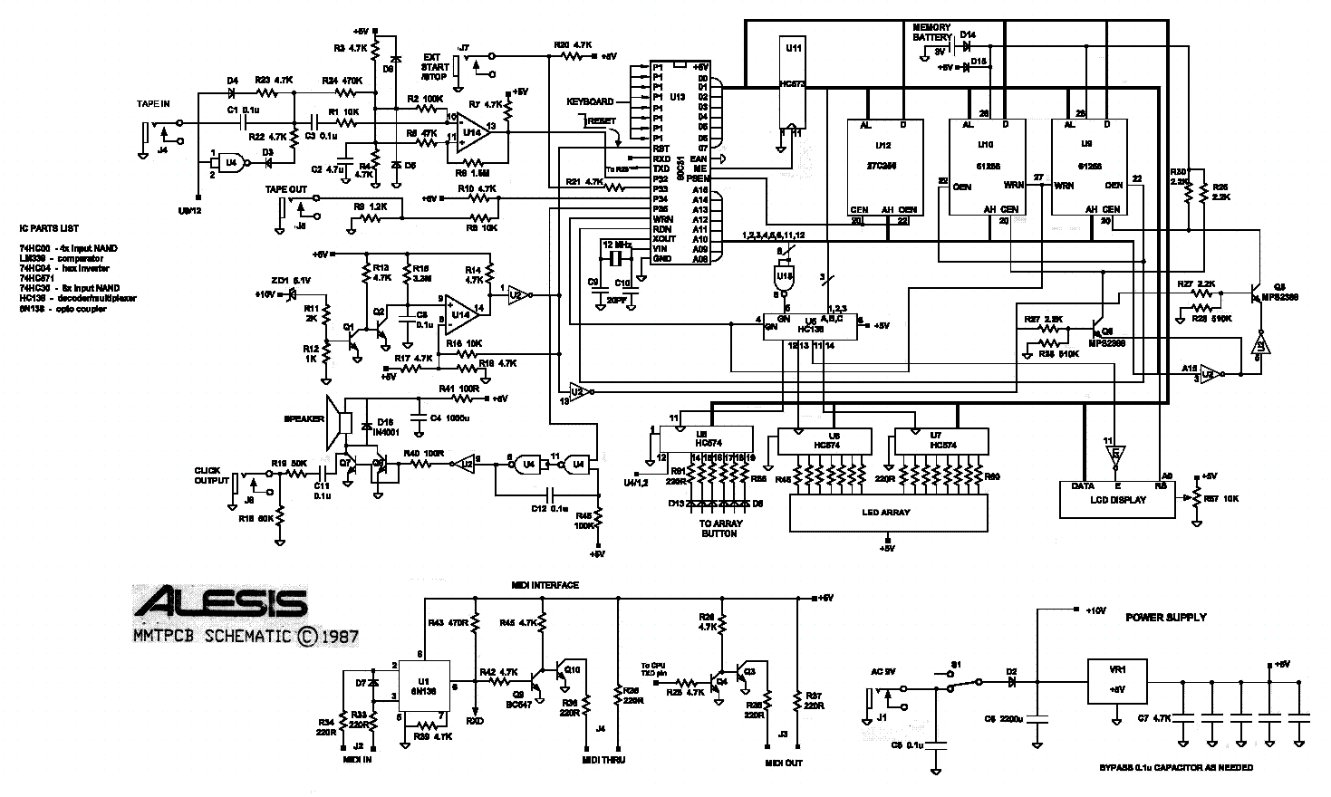 ALESIS MMT8 REV.2 SCHEMATIC Service Manual download