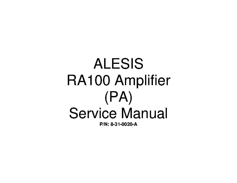 ALESIS RA100 SERVICE MANUAL Service Manual download
