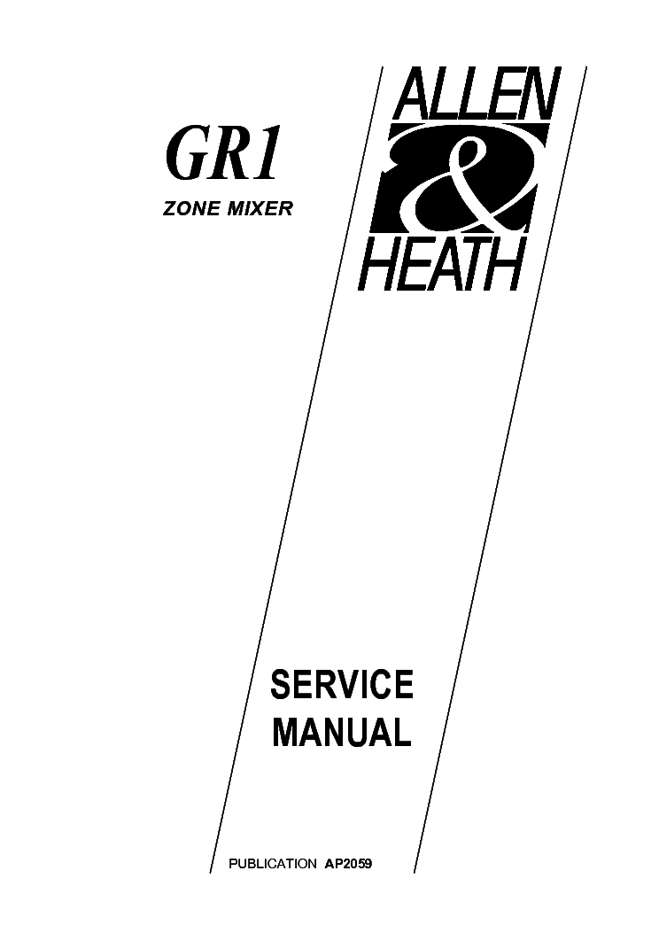 ALLEN-HEATH GR1 Service Manual download, schematics