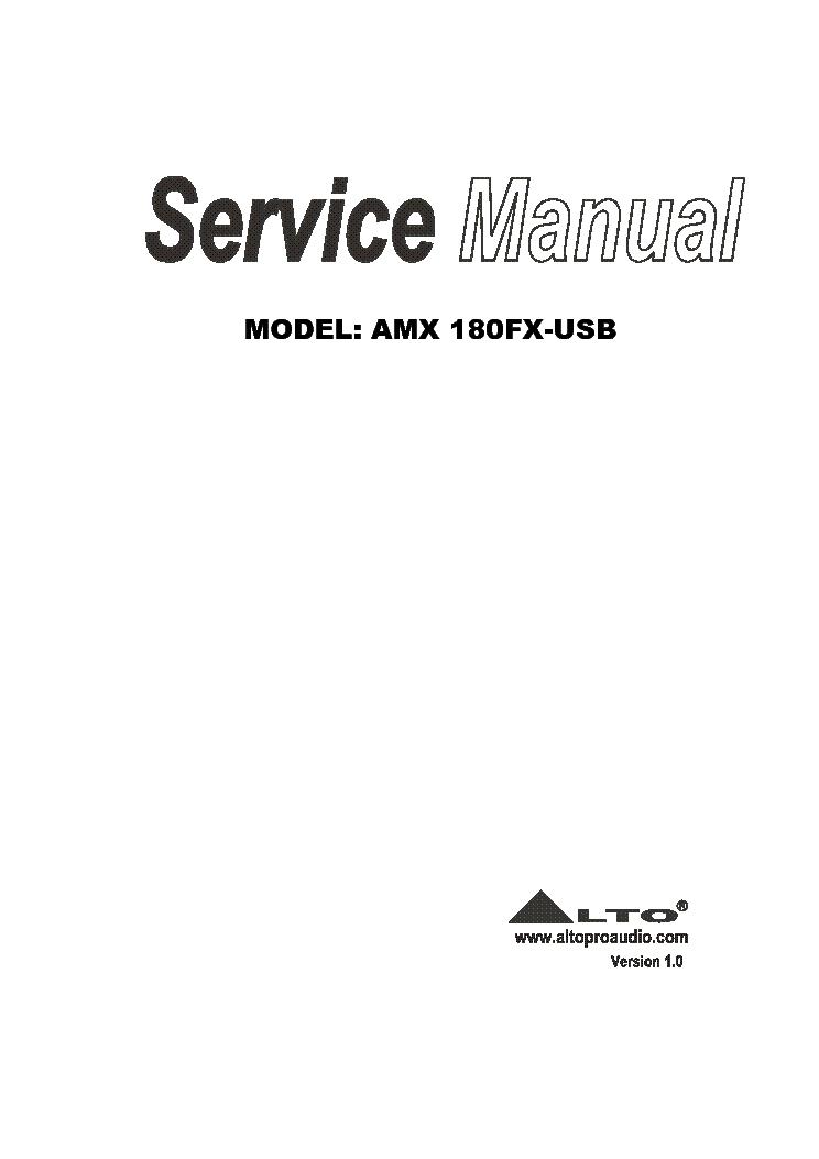 ALTO AMX-180FX-USB VER1.0 Service Manual download