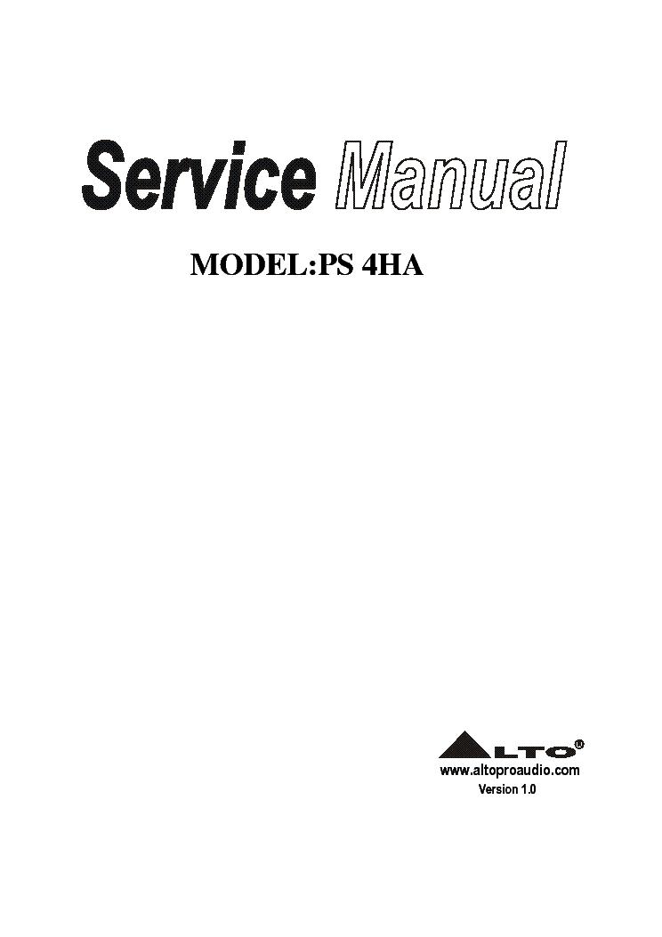 ALTO PS4HA Service Manual download, schematics, eeprom