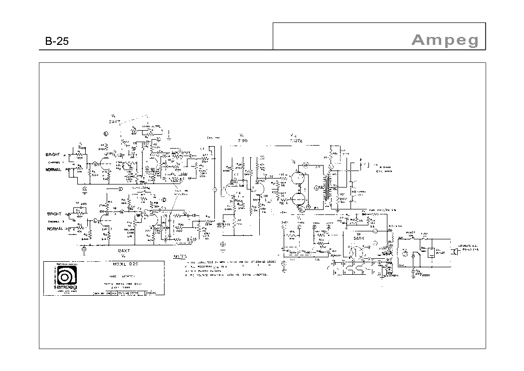 AMPEG B-25 SCH Service Manual download, schematics, eeprom