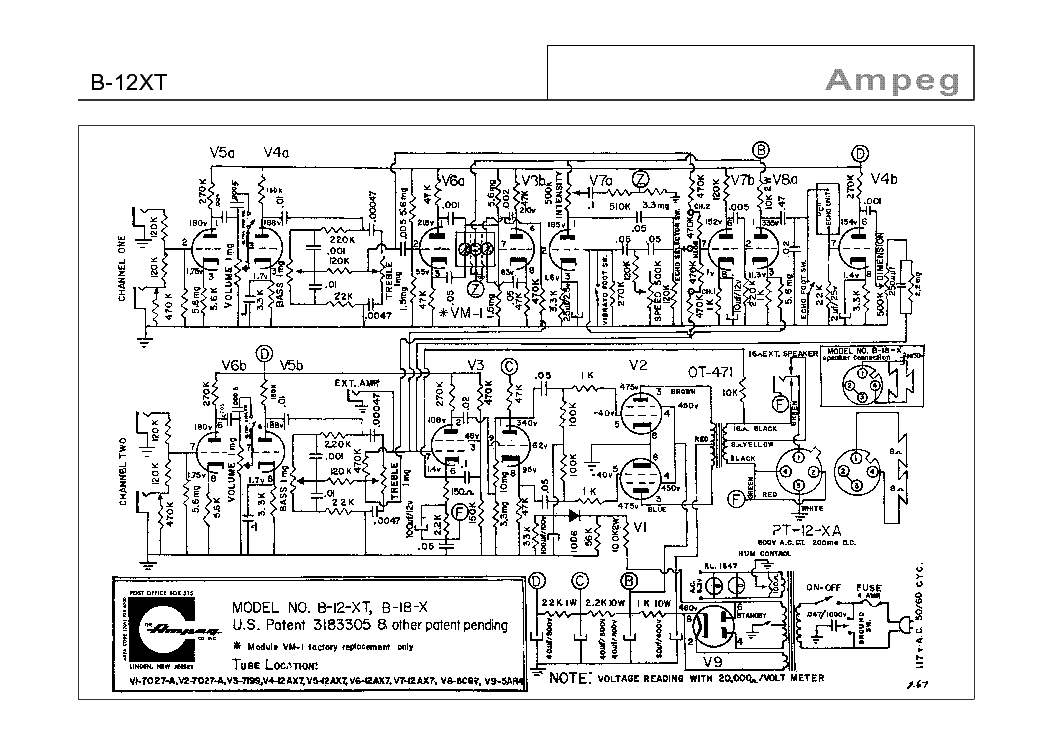AMPEG B12-XT SCHEMATIC Service Manual download, schematics
