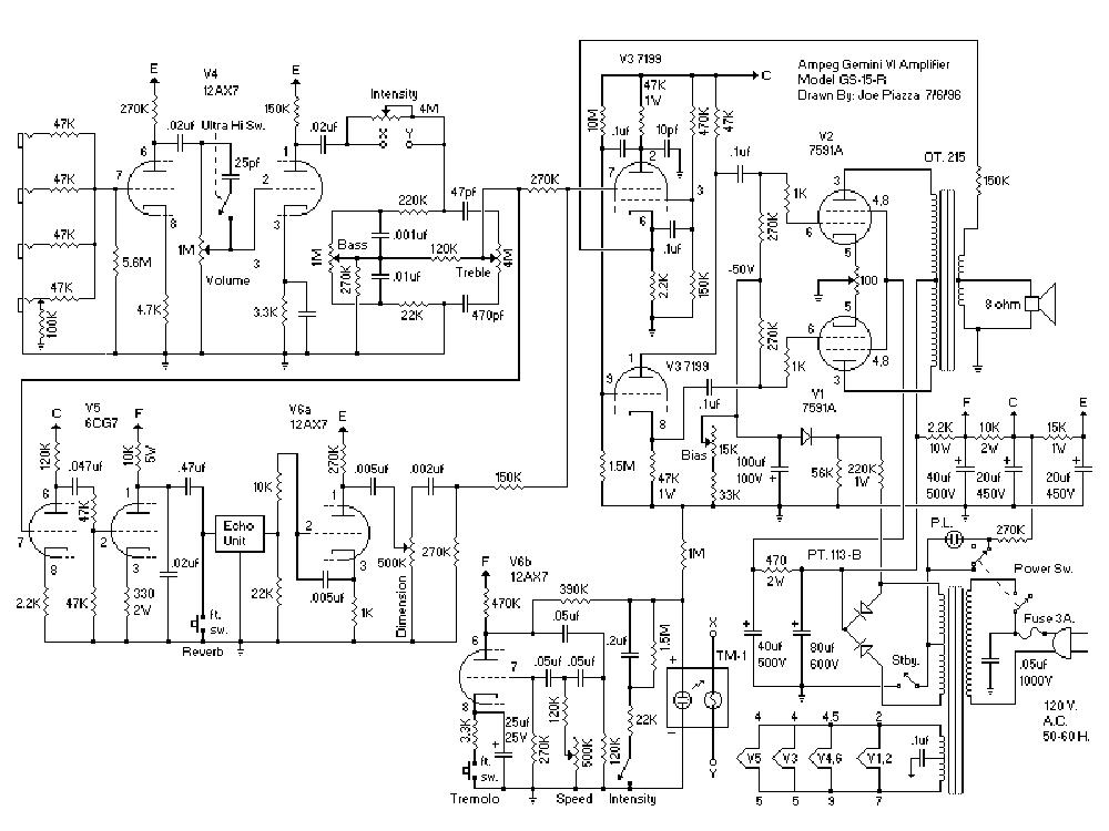 AMPEG GS15R GEMINI VI Service Manual download, schematics