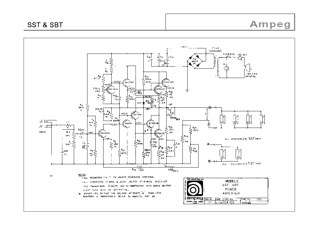 AMPEG SST AND SBT Service Manual download, schematics