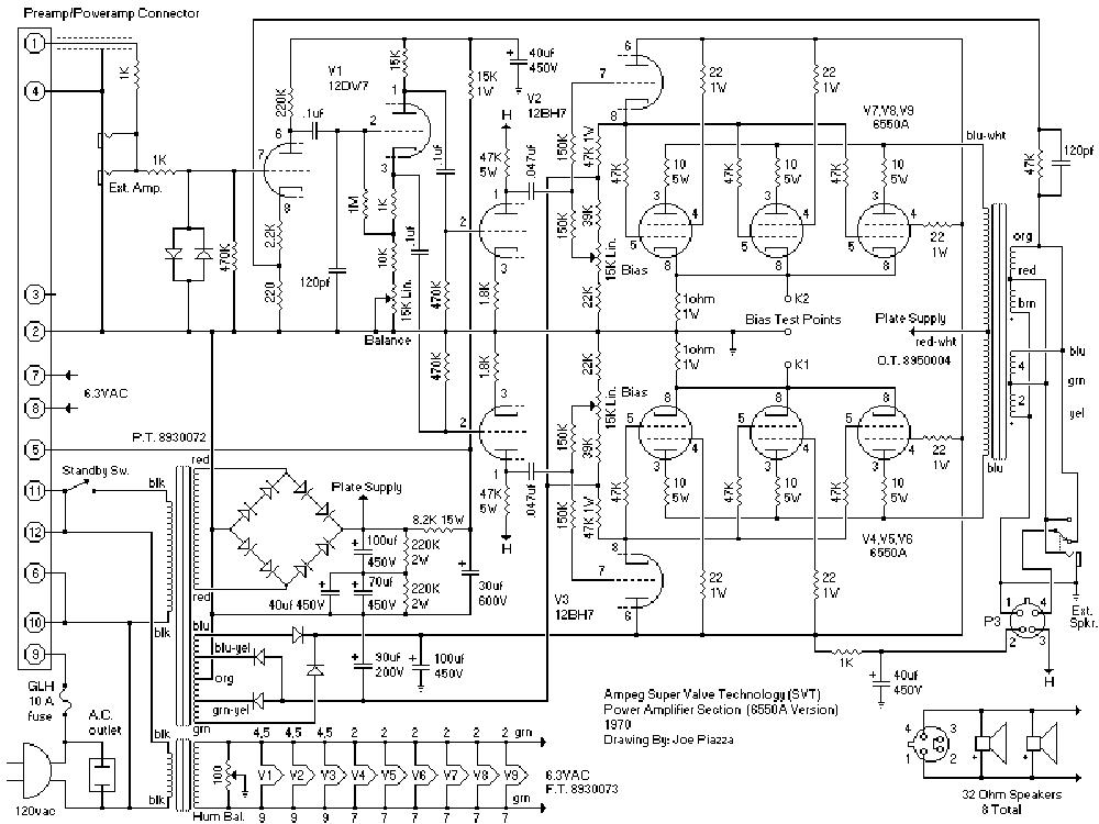 AMPEG V-6B Service Manual download, schematics, eeprom