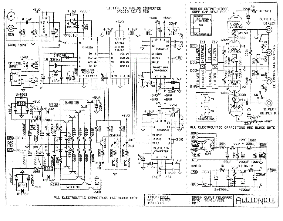 AUDIO-NOTE DAC4 SCH Service Manual download, schematics