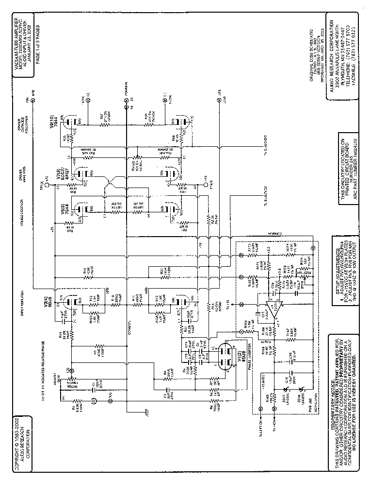 AUDIO-RESEARCH D250MKII SERVO AMPLIFIER Service Manual