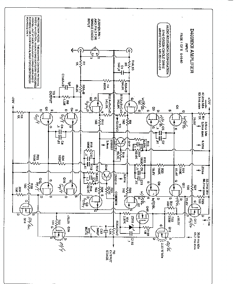 AUDIO-RESEARCH D400II AMPLIFIER SCH Service Manual