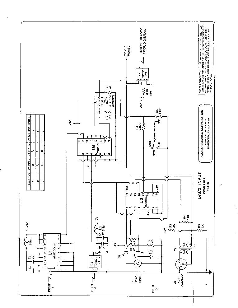 AUDIO-RESEARCH DAC2 DA CONVERTER SCH Service Manual