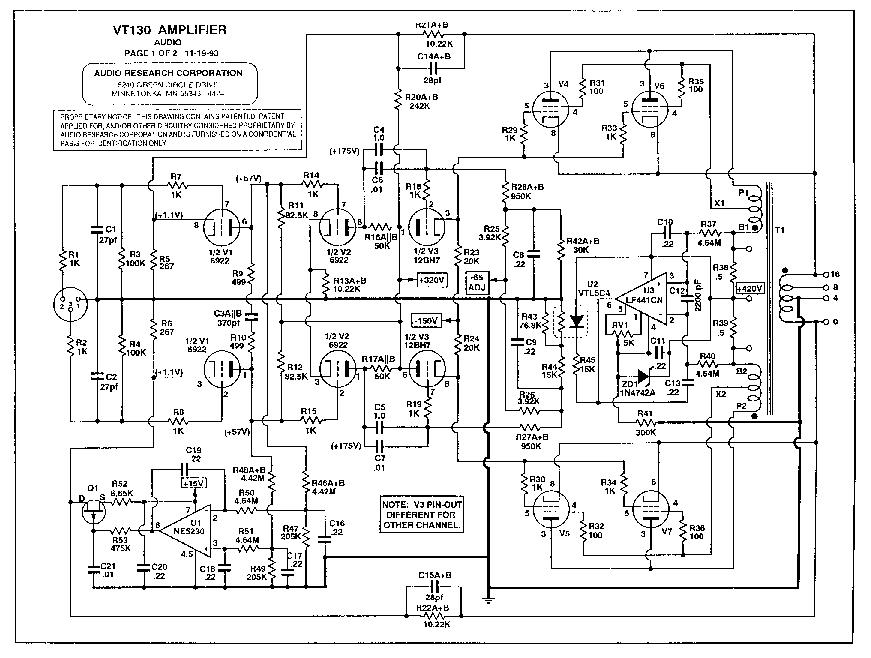 AUDIO-RESEARCH VT130 SCH Service Manual download