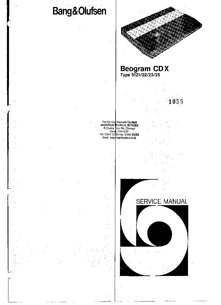 BANG-OLUFSEN BEOGRAM-CDX5121-5125 Service Manual download