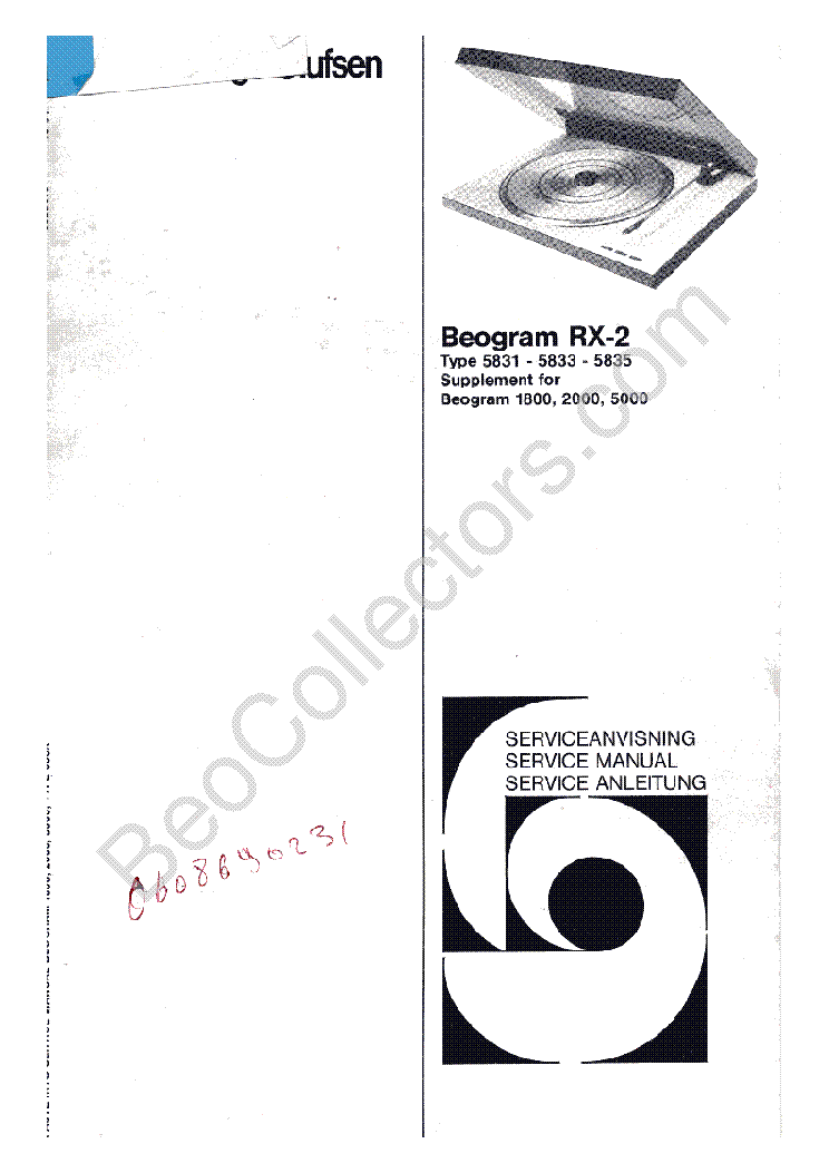 BANG-OLUFSEN BEOGRAM RX2 SCH Service Manual download
