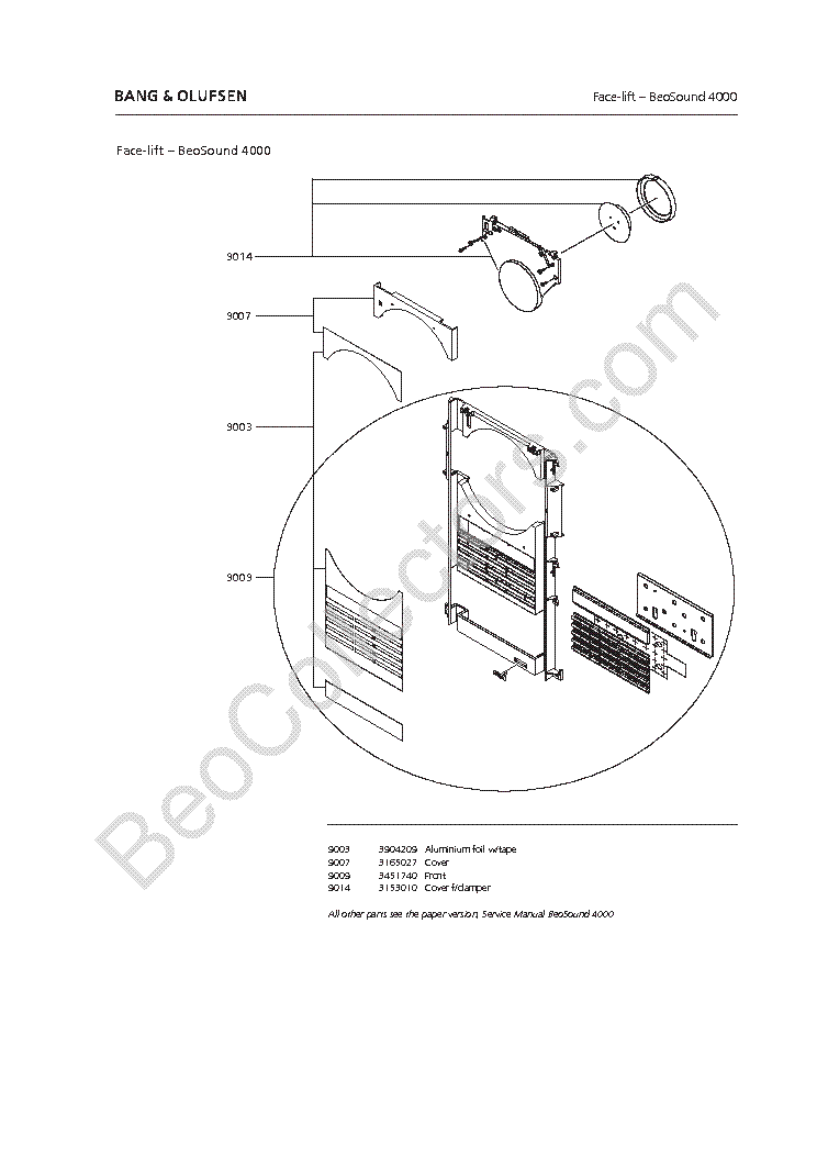 BANG-OLUFSEN BEOSOUND OUVERTURE FACELIFT Service Manual