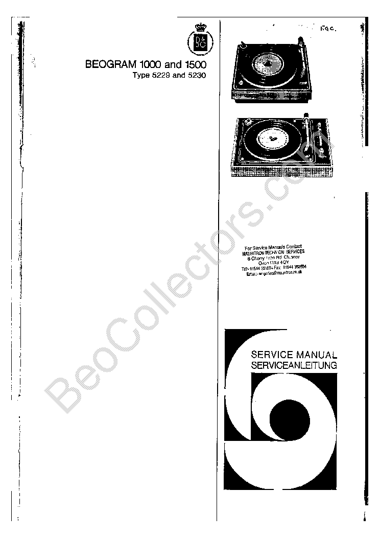 BANG OLUFSEN BEOGRAM 1000 1500 Service Manual download