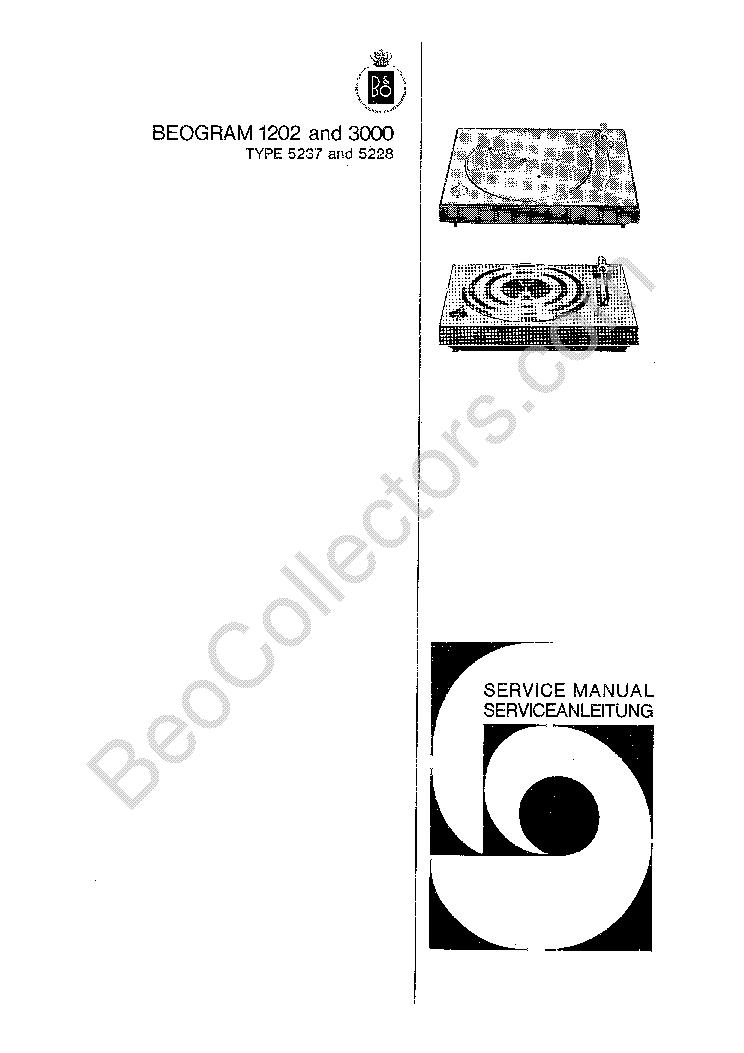 BANG OLUFSEN BEOGRAM 1202 3000 Service Manual download