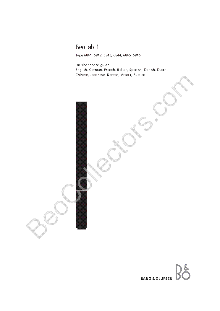 BANG OLUFSEN BEOLAB 1 ONSG Service Manual download