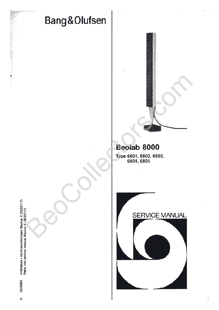 BANG OLUFSEN BEOLAB 8000 SCH Service Manual download