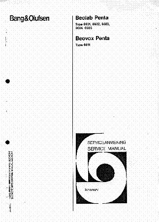 BANG OLUFSEN BEOLAB PENTA 1 SERVICE MANUAL Service Manual