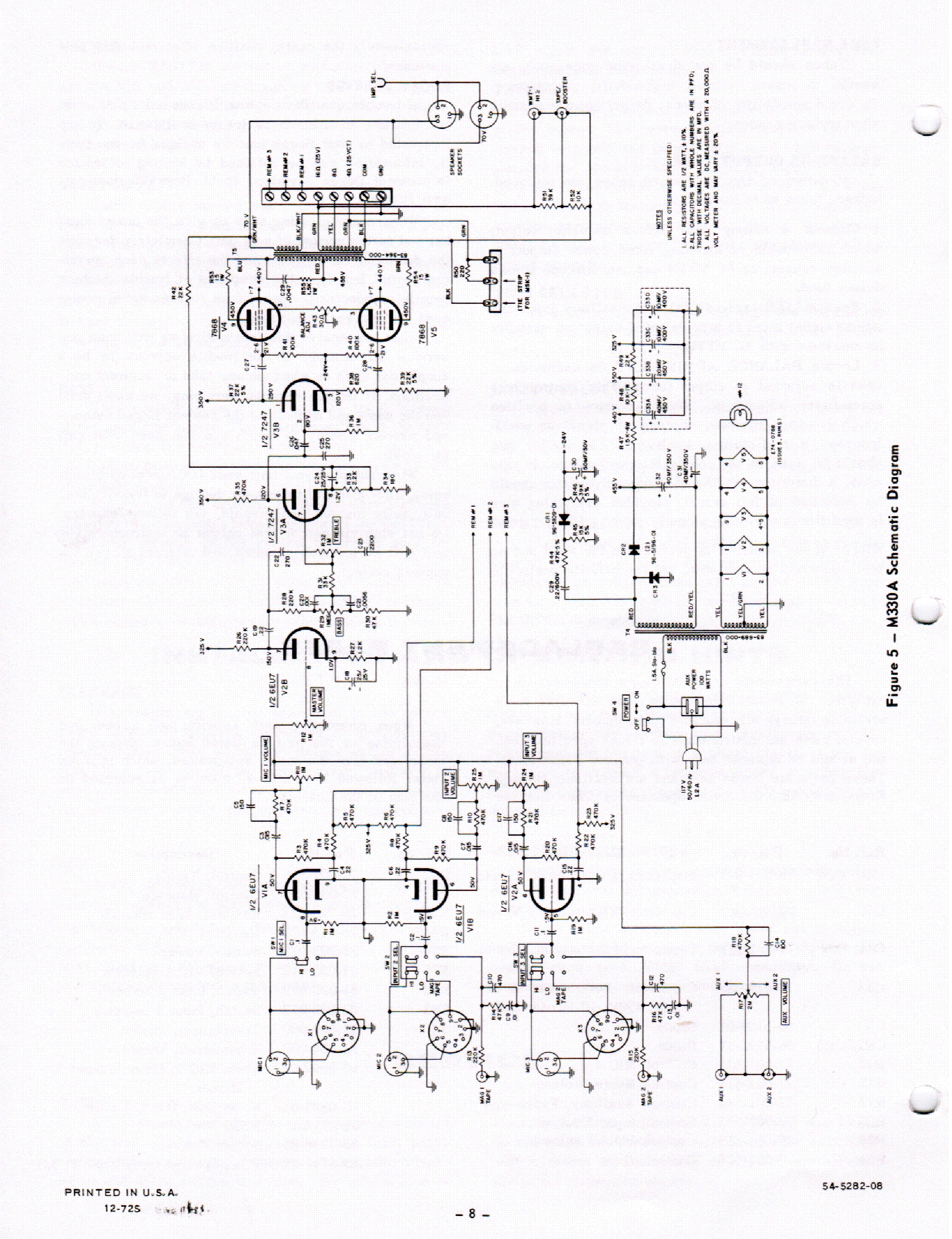 Bogen M330a Sch Service Manual Download Schematics