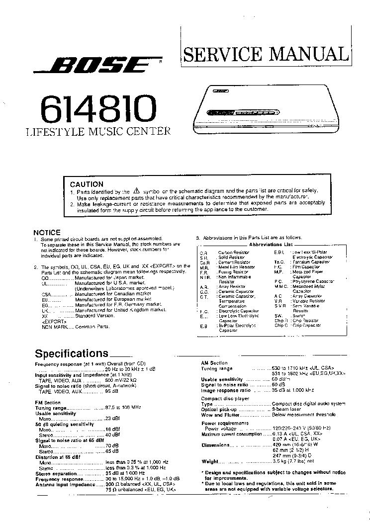 Bose Service Schematics Bose 614810 Lifestyle Sm Service Manual Download