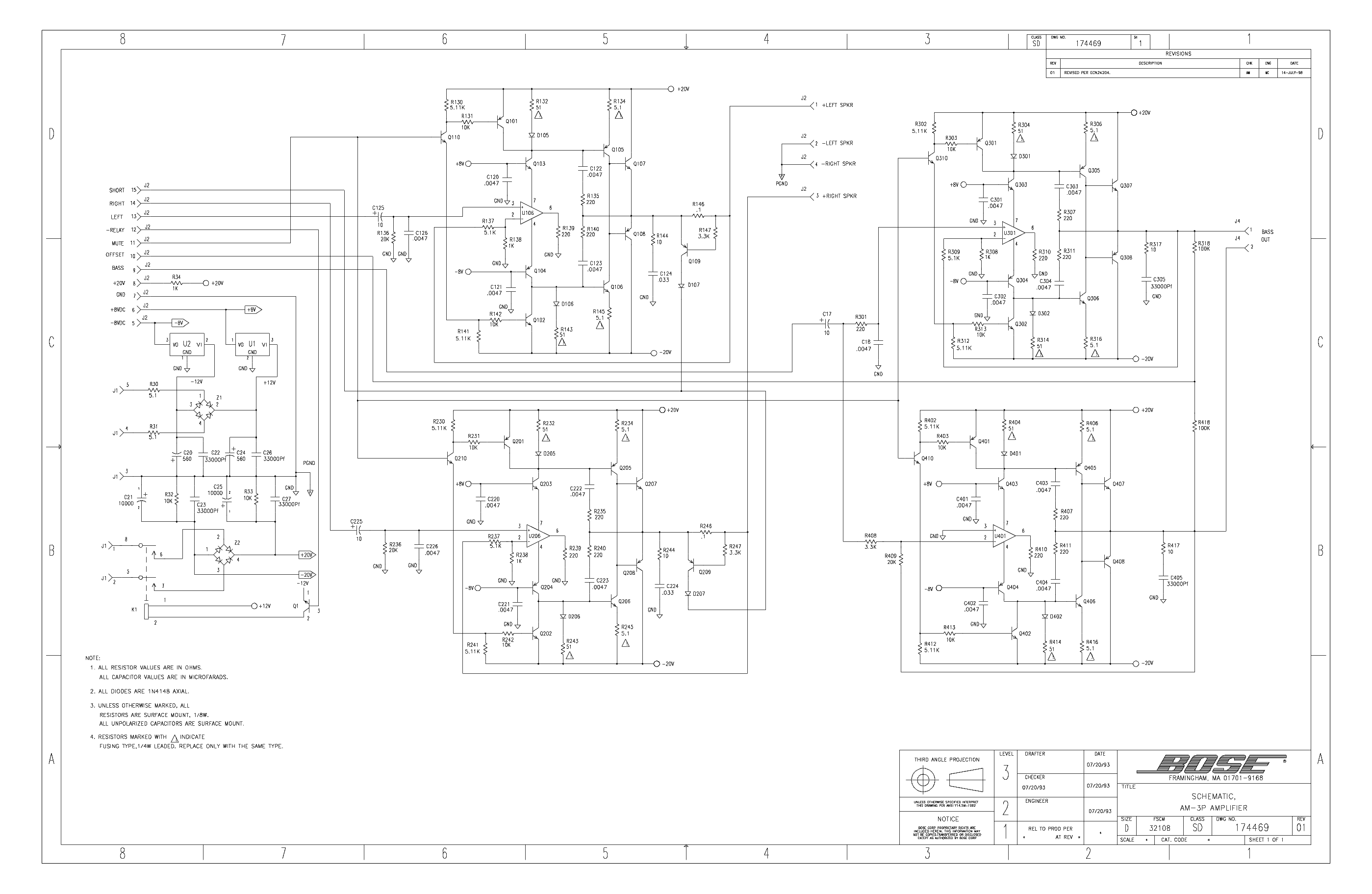 BOSE 802C Service Manual free download, schematics, eeprom