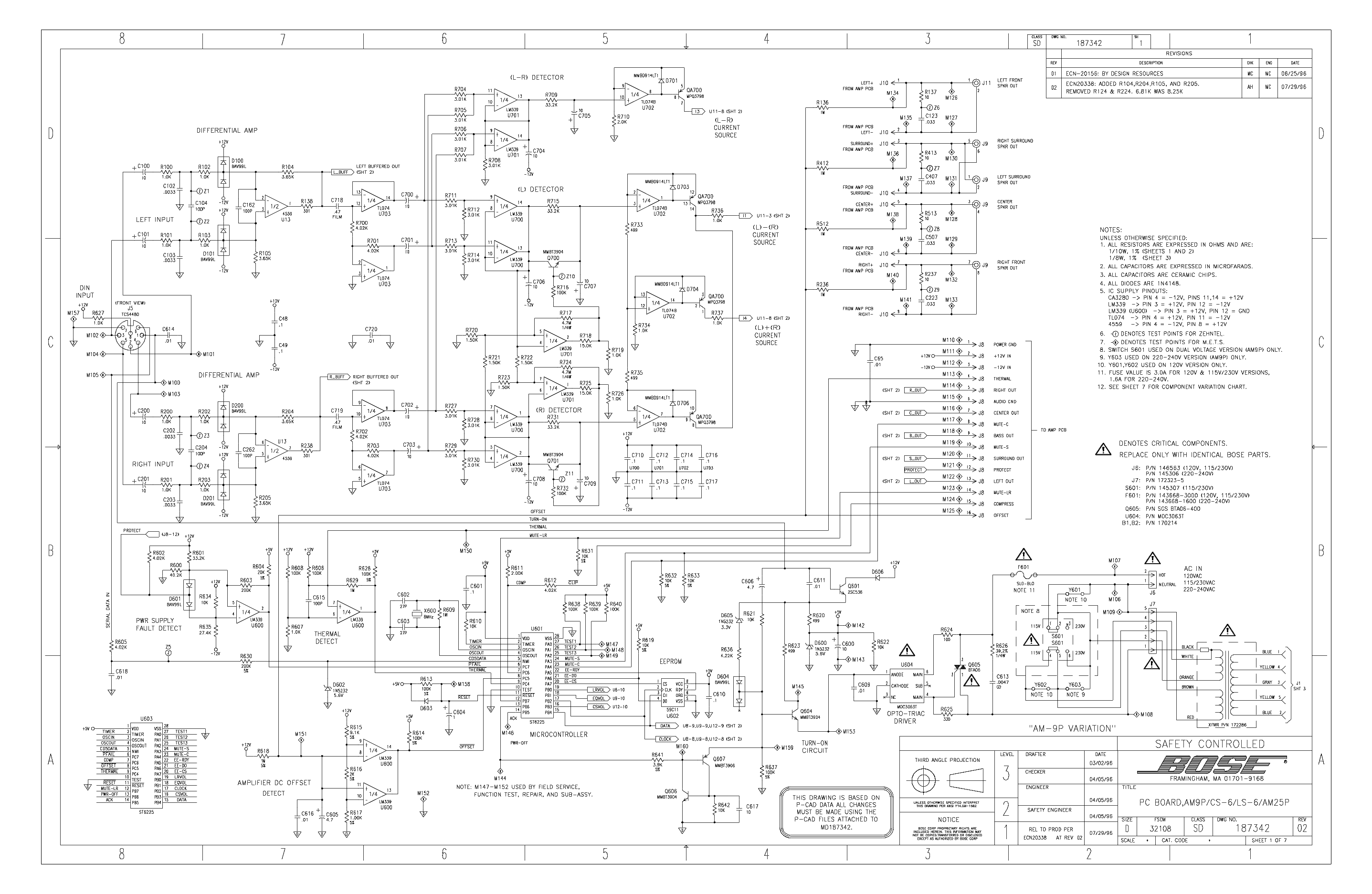 Bose Am 9p Sch Service Manual Download Schematics Eeprom