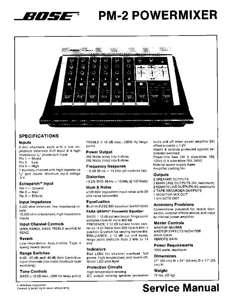 BOSE PM-2 SM Service Manual download, schematics, eeprom