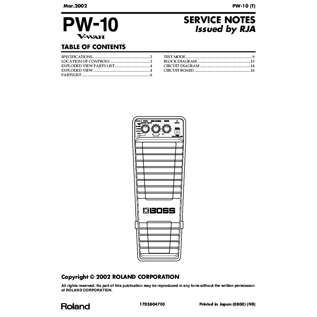 BOSS DF-2 Service Manual download, schematics, eeprom
