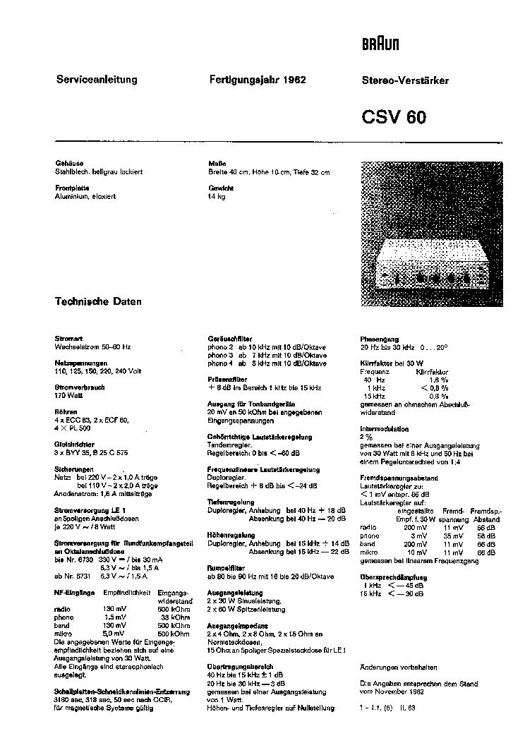 BRAUN CSV60 SERVICE Service Manual download, schematics