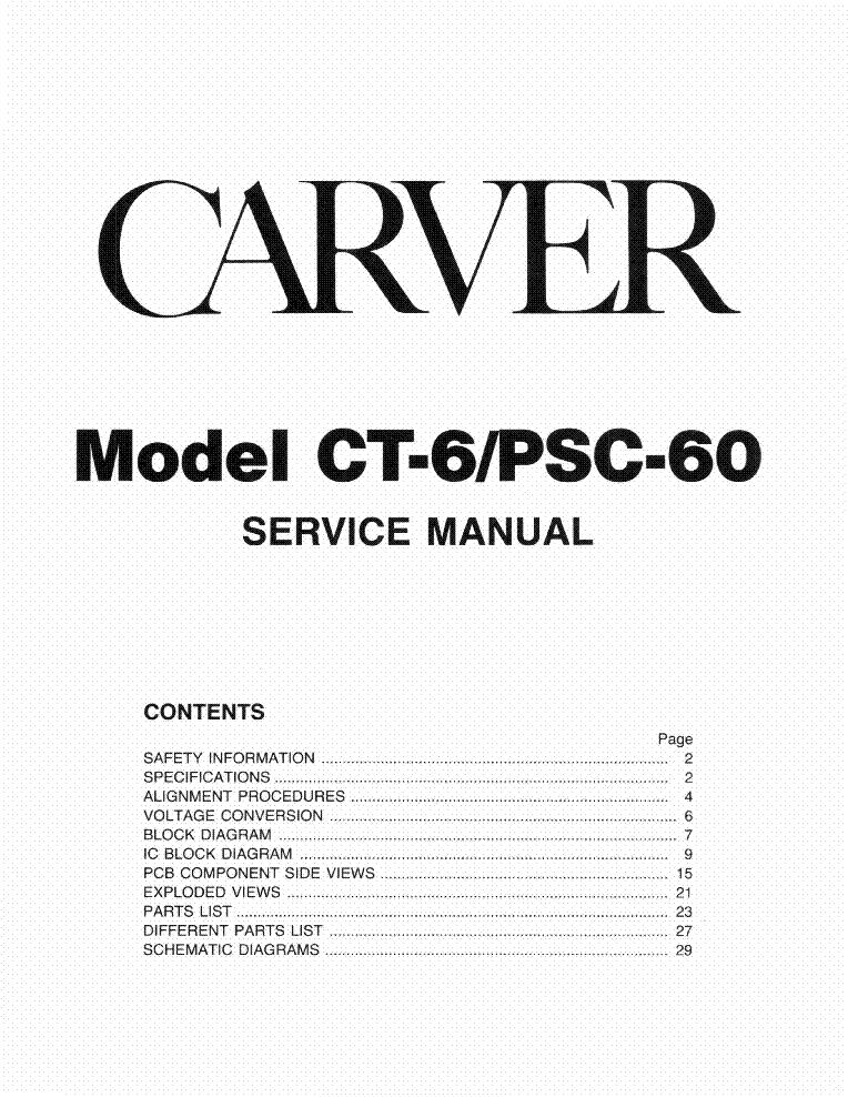 CARVER A-760-X 2X600W 4-OHM AUDIO AMP 1996 SM Service