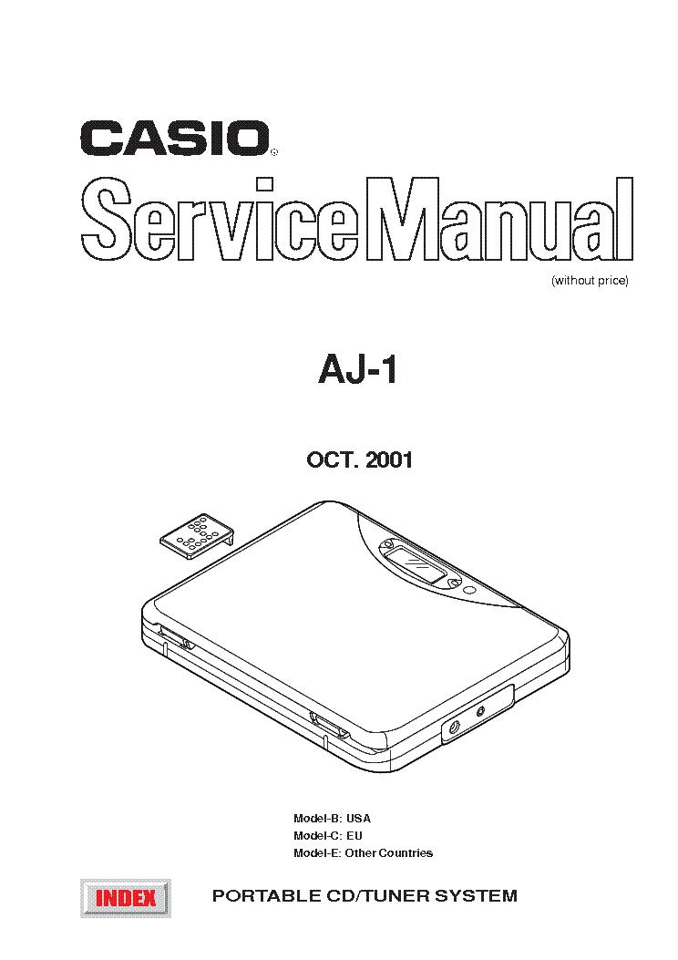 CASIO AJ-1 Service Manual download, schematics, eeprom