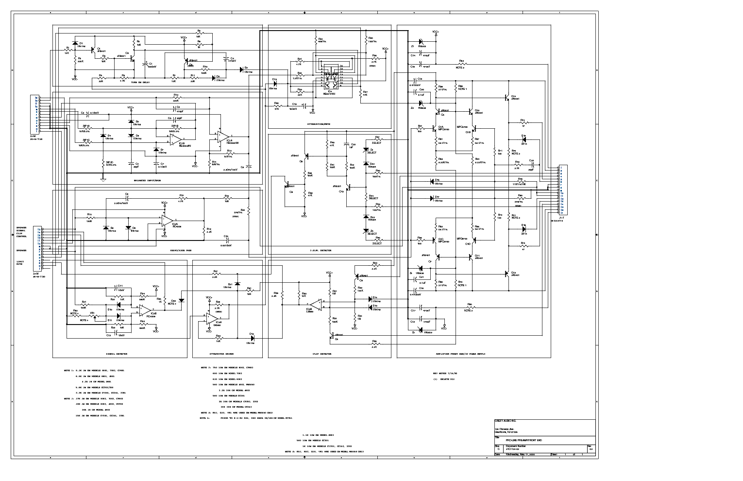 Crest Audio Proline Preamp Sch Service Manual Download