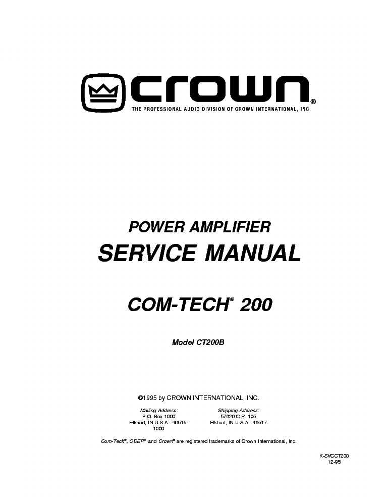 CROWN COM-TECH 200 CT200B Service Manual download