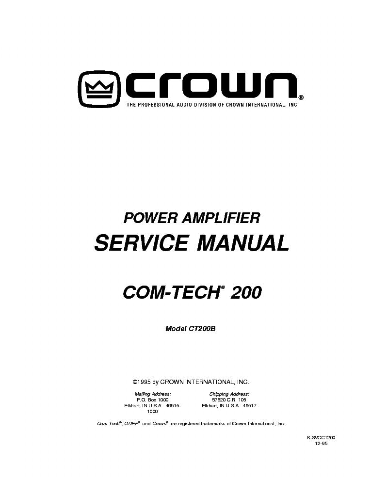 CROWN MACRO-TECH MA-5000VZ SCH Service Manual download, schematics, eeprom, repair info for