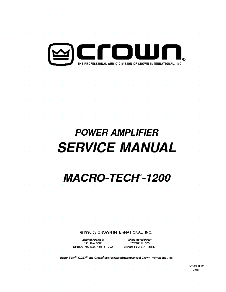 CROWN MACRO-TECH-1200 SM NO-SCH Service Manual download