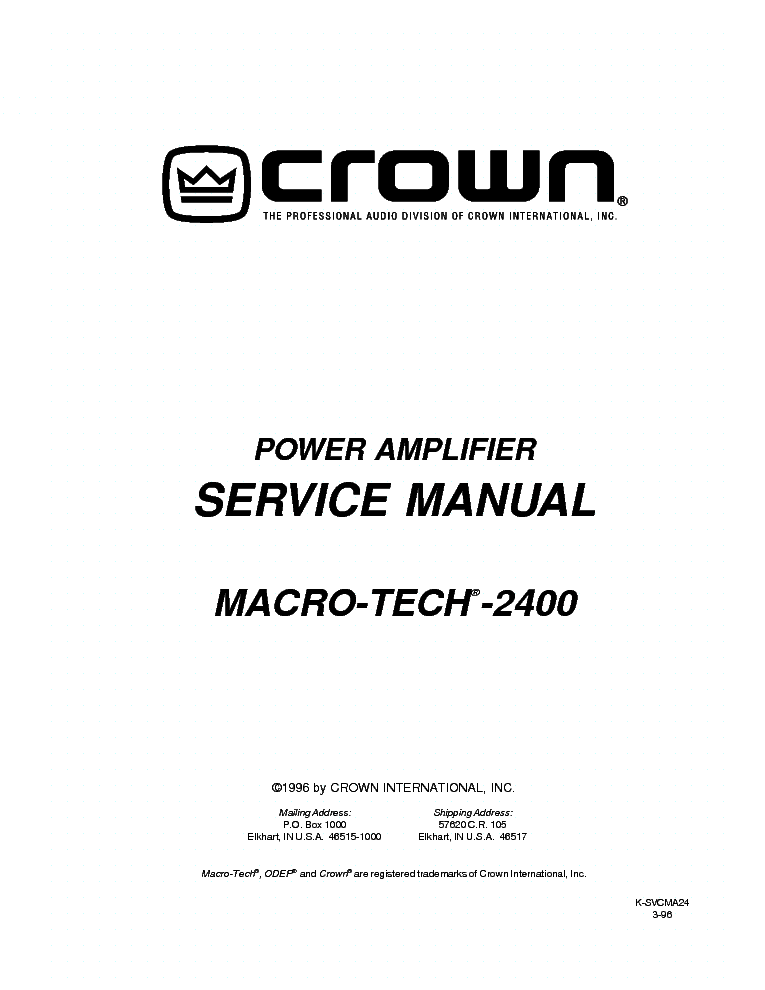 CROWN XS-700 POWER-AMP 2003 SCH Service Manual download