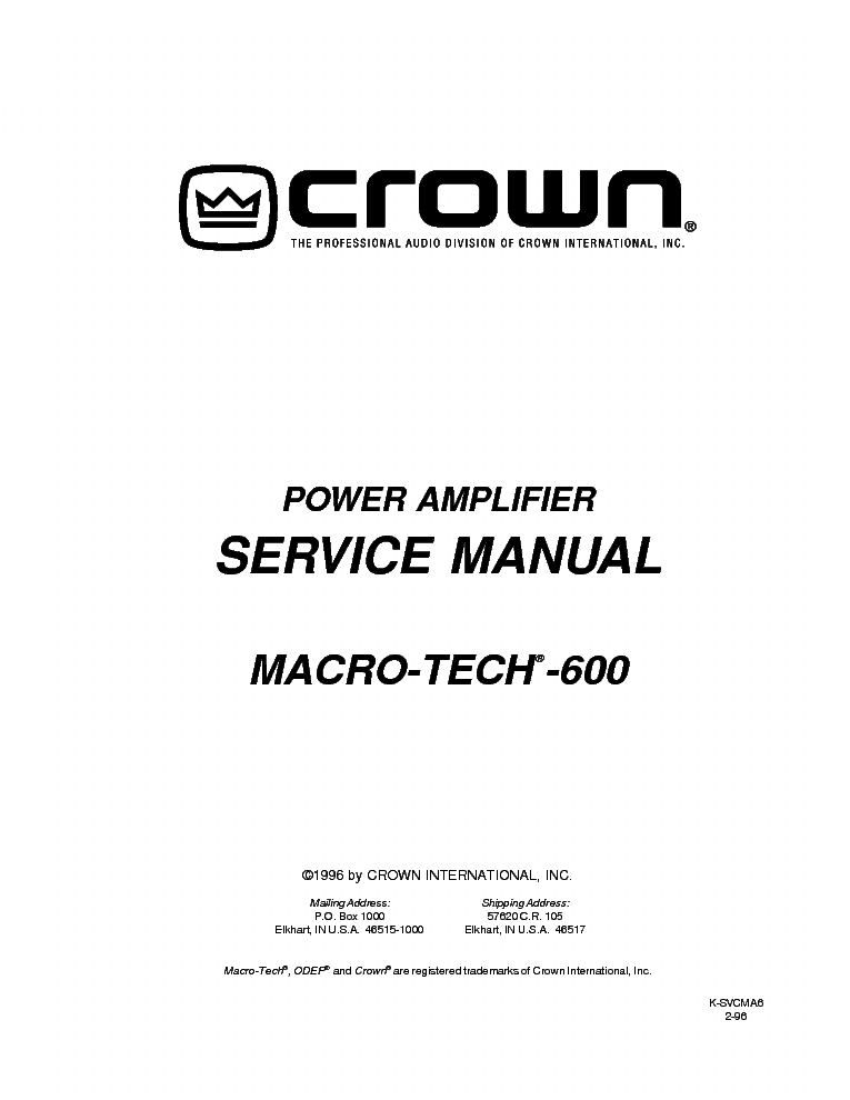 CROWN XLS202 XLS402 XLS602 SCH 1 Service Manual free