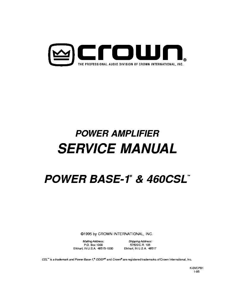 CROWN POWER-BASE-1 460CSL SM Service Manual download