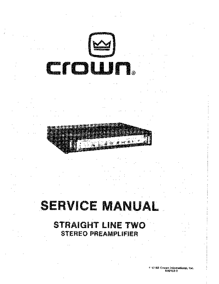 CROWN STRAIGHT LINE TWO SZTEREO KEVERO ELOEROSITO 1983 SM
