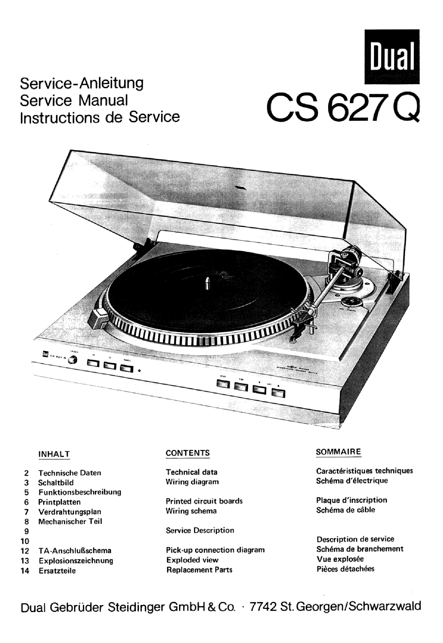 DUAL CS-627Q SM 2 Service Manual download, schematics