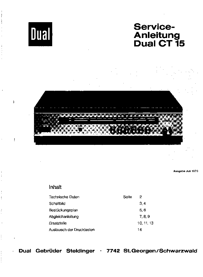 DUAL CT15 SM Service Manual download, schematics, eeprom