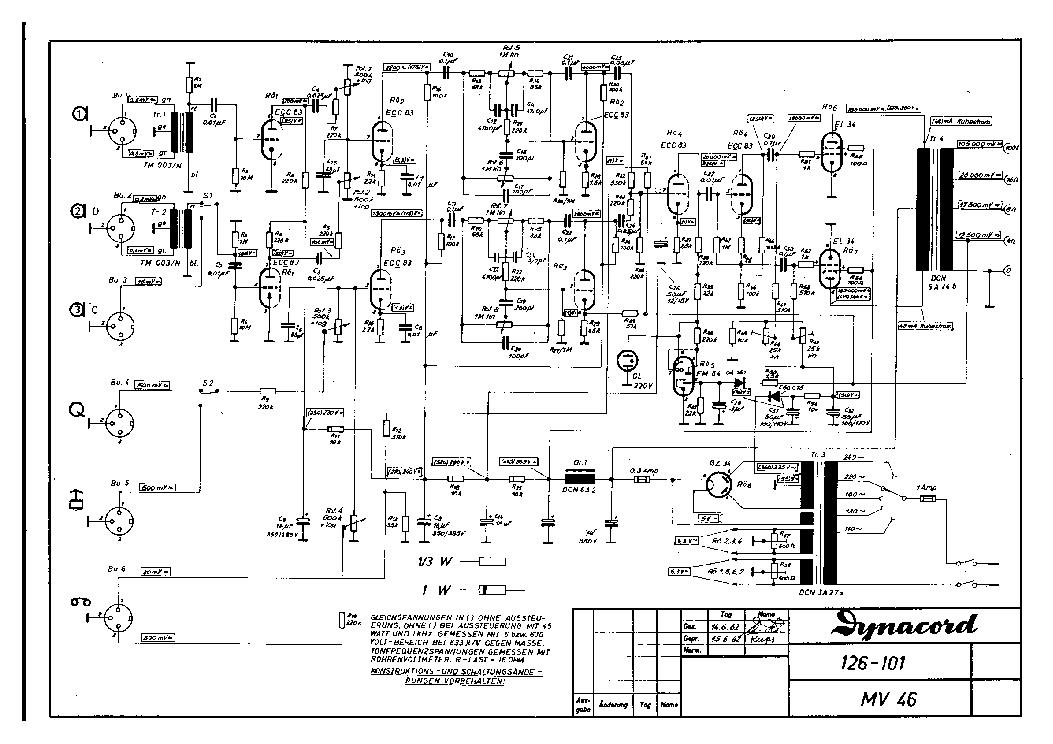 DYNACORD EMINENT MV46 2XEL34 COMBO PA 1962 SCH Service