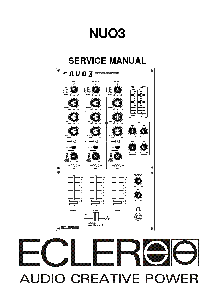 ECLER NUO3 SM Service Manual download, schematics, eeprom