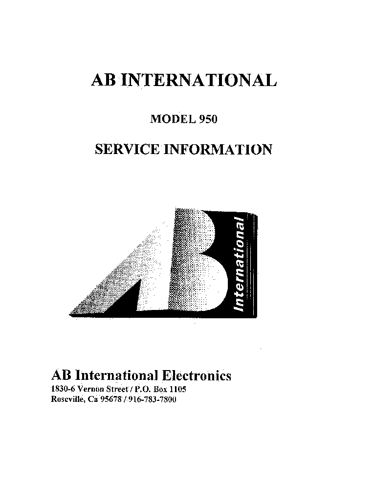 AB-INTERNATIONAL 950A AL950-LX 2050 SCH Service Manual