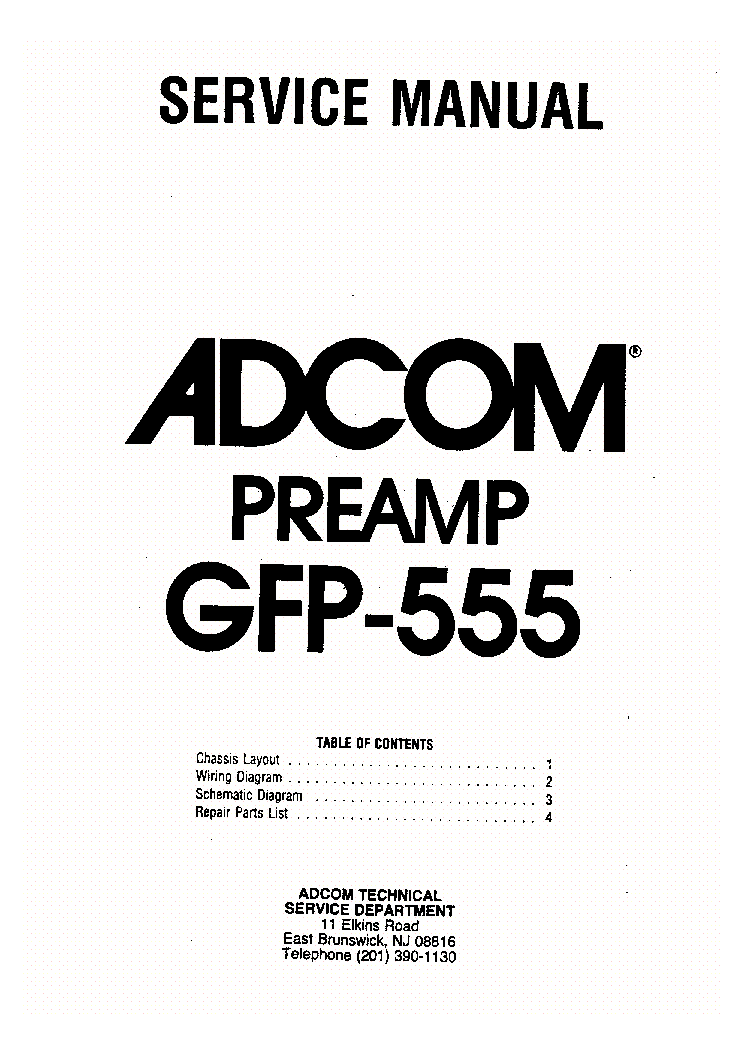ADCOM GFP-555 Service Manual download, schematics, eeprom