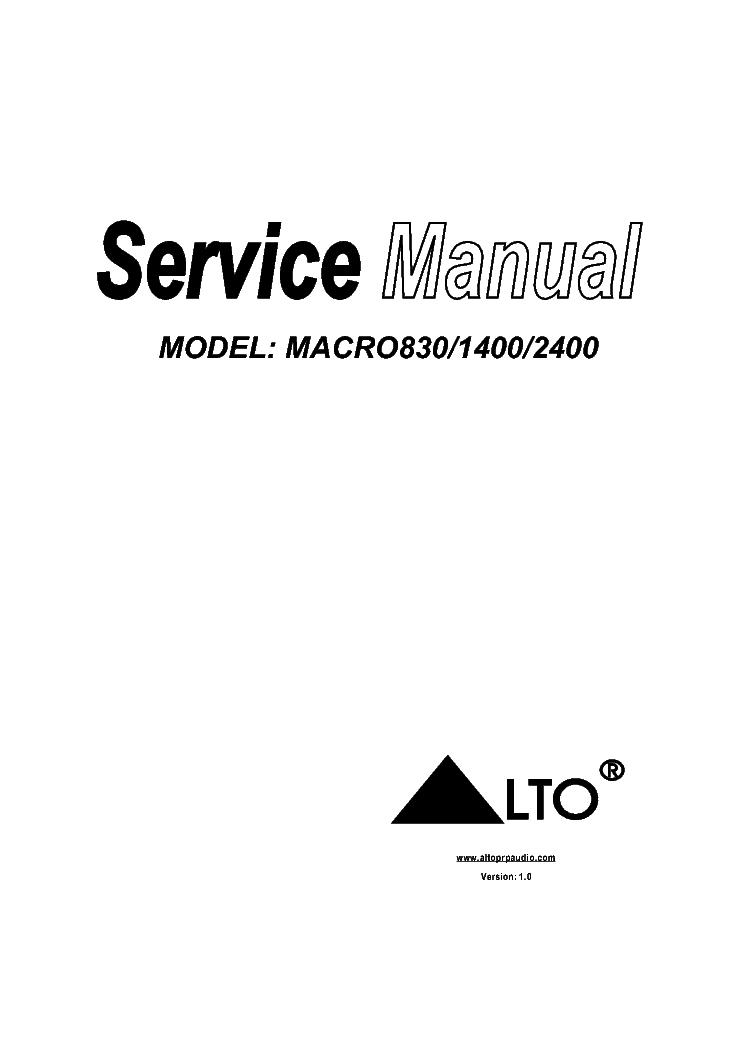 ALTO MACRO 830-1400-2400 Service Manual download